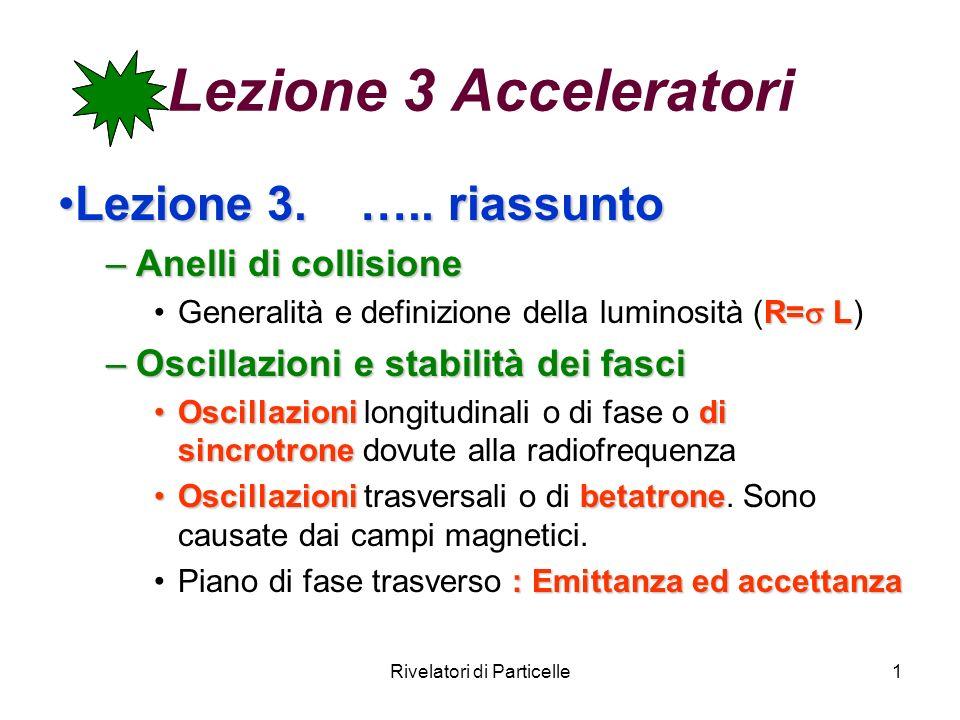 Rivelatori di Particelle1 Lezione 3 Acceleratori Lezione 3. ….. riassuntoLezione 3. ….. riassunto –Anelli di collisione R= LGeneralità e definizione d