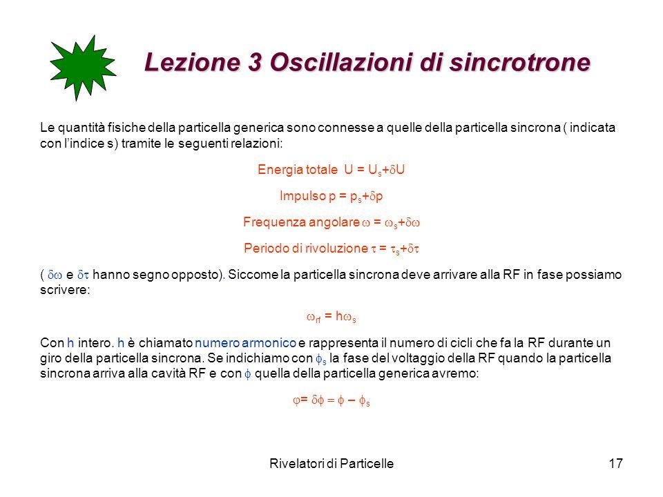 Rivelatori di Particelle17 Lezione 3 Oscillazioni di sincrotrone Lezione 3 Oscillazioni di sincrotrone Le quantità fisiche della particella generica s