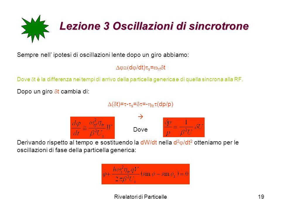 Rivelatori di Particelle19 Lezione 3 Oscillazioni di sincrotrone Lezione 3 Oscillazioni di sincrotrone Sempre nell ipotesi di oscillazioni lente dopo