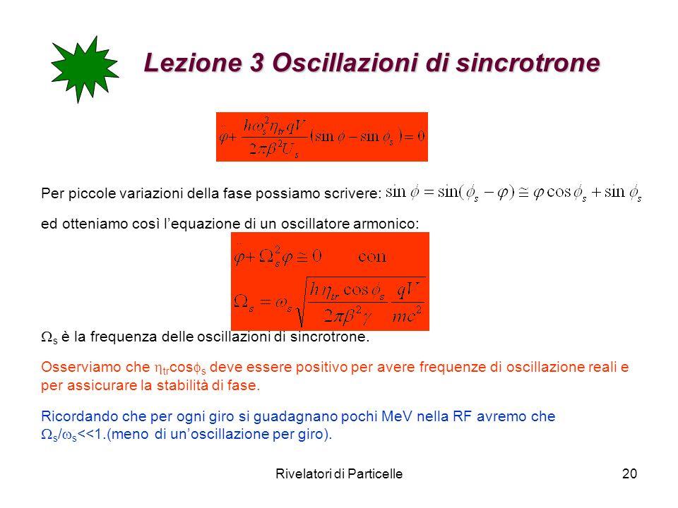 Rivelatori di Particelle20 Lezione 3 Oscillazioni di sincrotrone Lezione 3 Oscillazioni di sincrotrone Per piccole variazioni della fase possiamo scri