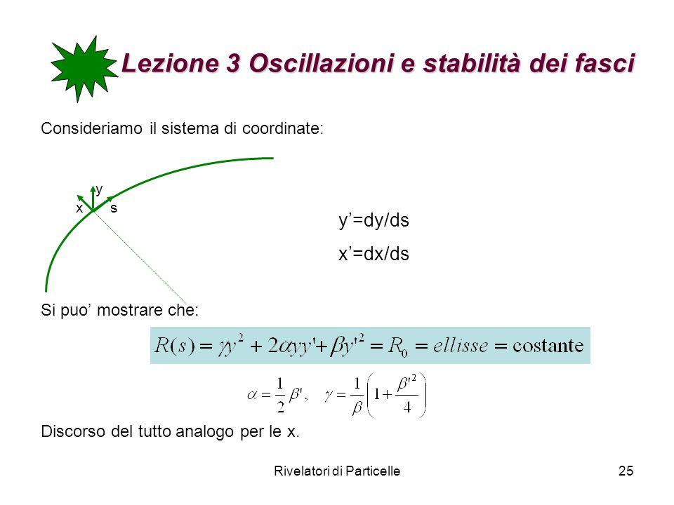 Rivelatori di Particelle25 Lezione 3 Oscillazioni e stabilità dei fasci Consideriamo il sistema di coordinate: Si puo mostrare che: Discorso del tutto