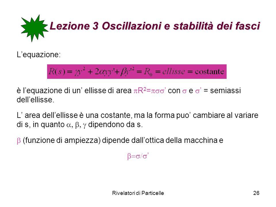 Rivelatori di Particelle26 Lezione 3 Oscillazioni e stabilità dei fasci Lequazione: è lequazione di un ellisse di area R 2 = con e = semiassi dellelli