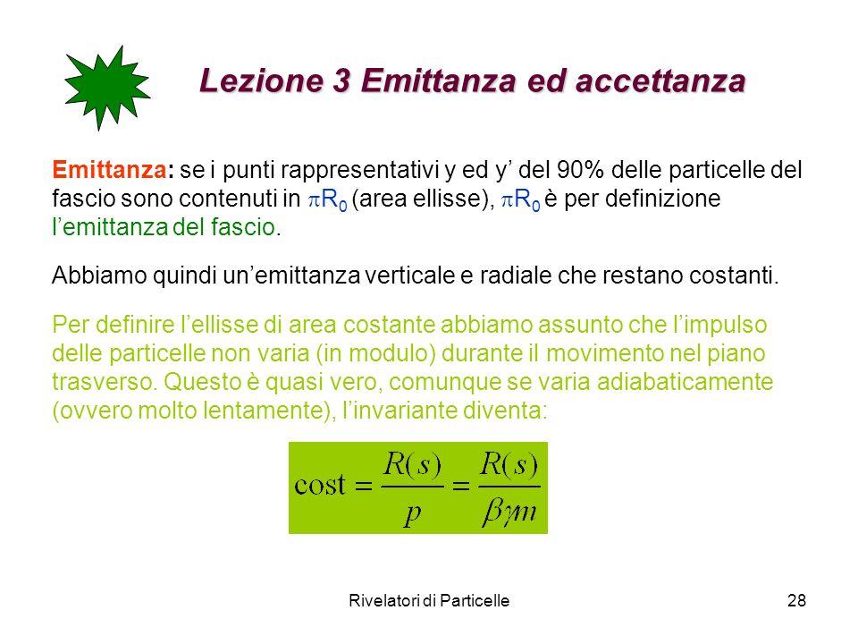 Rivelatori di Particelle28 Lezione 3 Emittanza ed accettanza Emittanza: se i punti rappresentativi y ed y del 90% delle particelle del fascio sono con