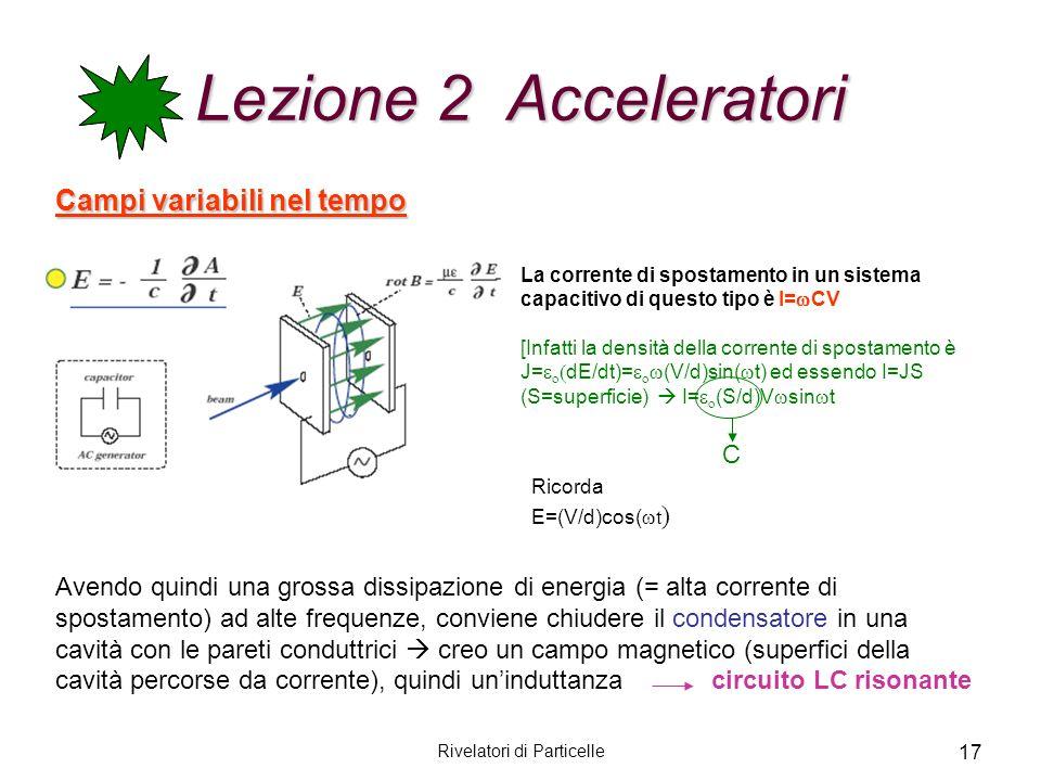 Rivelatori di Particelle 17 Lezione 2 Acceleratori Campi variabili nel tempo Avendo quindi una grossa dissipazione di energia (= alta corrente di spos