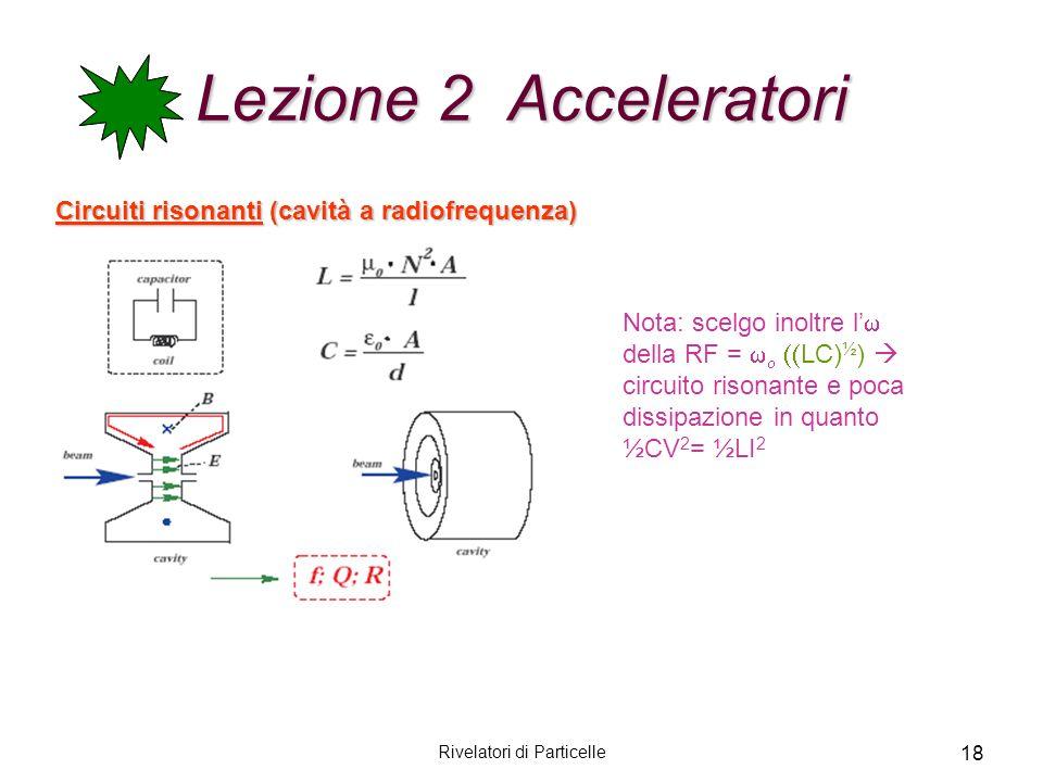 Rivelatori di Particelle 18 Lezione 2 Acceleratori Circuiti risonanti (cavità a radiofrequenza) Nota: scelgo inoltre l della RF = LC) ½ ) circuito ris