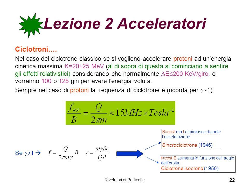 Rivelatori di Particelle 22 Lezione 2 Acceleratori Ciclotroni…. Nel caso del ciclotrone classico se si vogliono accelerare protoni ad unenergia cineti