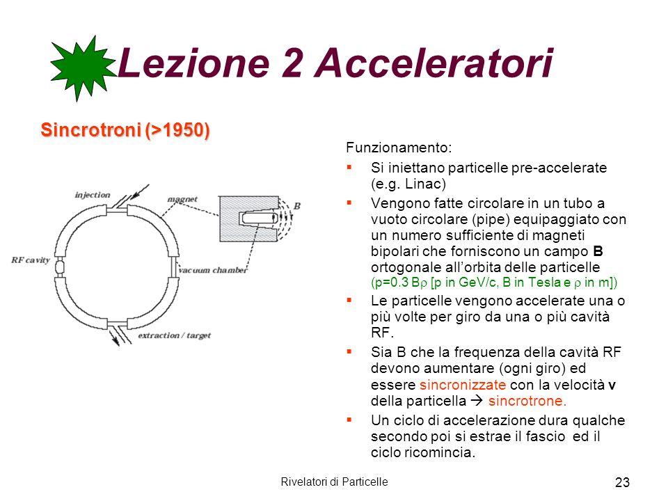 Rivelatori di Particelle 23 Lezione 2 Acceleratori Sincrotroni (>1950) Funzionamento: Si iniettano particelle pre-accelerate (e.g. Linac) Vengono fatt