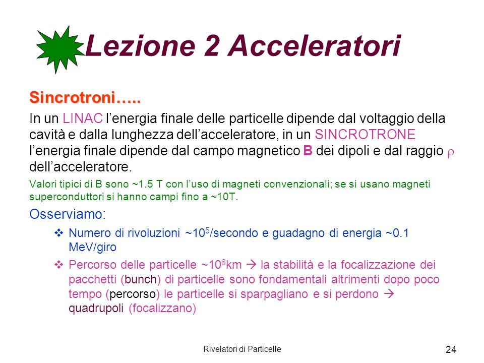 Rivelatori di Particelle 24 Lezione 2 Acceleratori Sincrotroni….. In un LINAC lenergia finale delle particelle dipende dal voltaggio della cavità e da