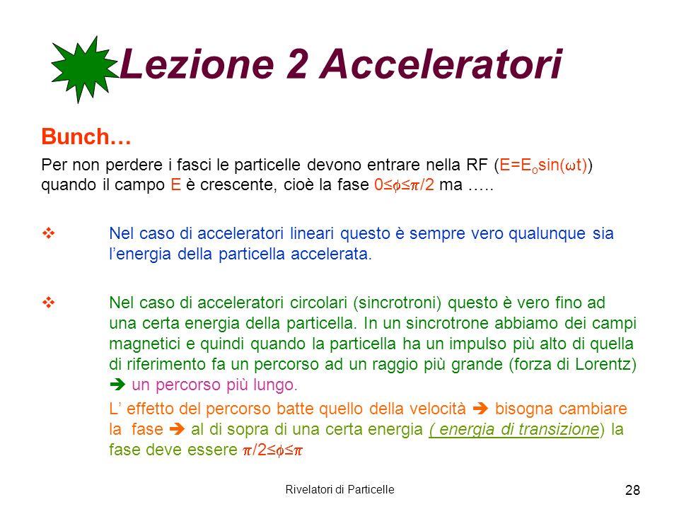 Rivelatori di Particelle 28 Lezione 2 Acceleratori Bunch… Per non perdere i fasci le particelle devono entrare nella RF (E=E o sin( t)) quando il camp