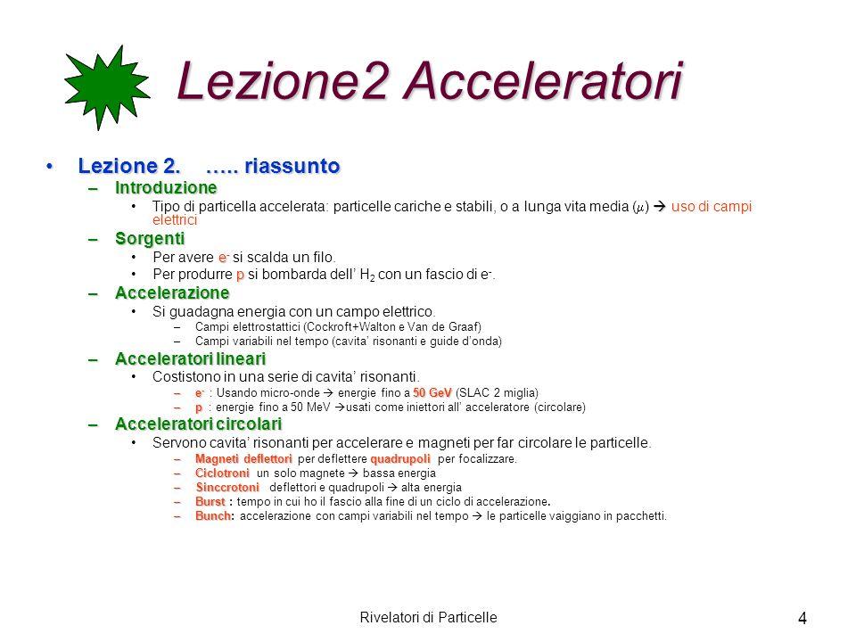4 Lezione2 Acceleratori Lezione 2. ….. riassuntoLezione 2. ….. riassunto –Introduzione Tipo di particella accelerata: particelle cariche e stabili, o