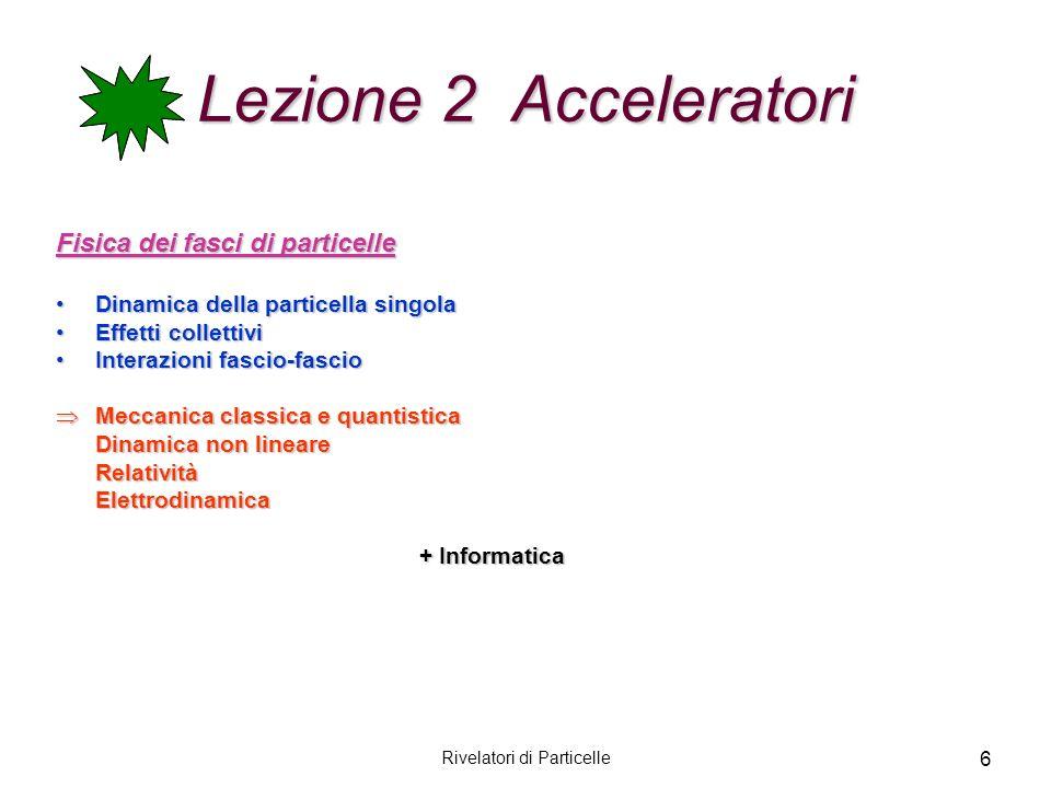 Rivelatori di Particelle 6 Lezione 2 Acceleratori Fisica dei fasci di particelle Dinamica della particella singolaDinamica della particella singola Ef
