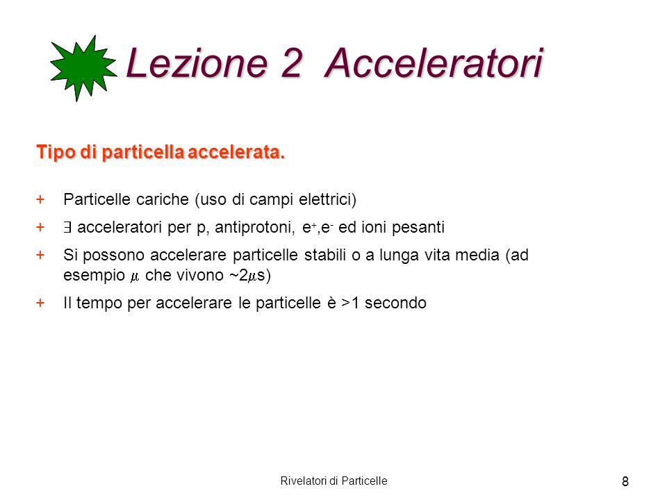 Rivelatori di Particelle 8 Lezione 2 Acceleratori Tipo di particella accelerata. +Particelle cariche (uso di campi elettrici) + acceleratori per p, an