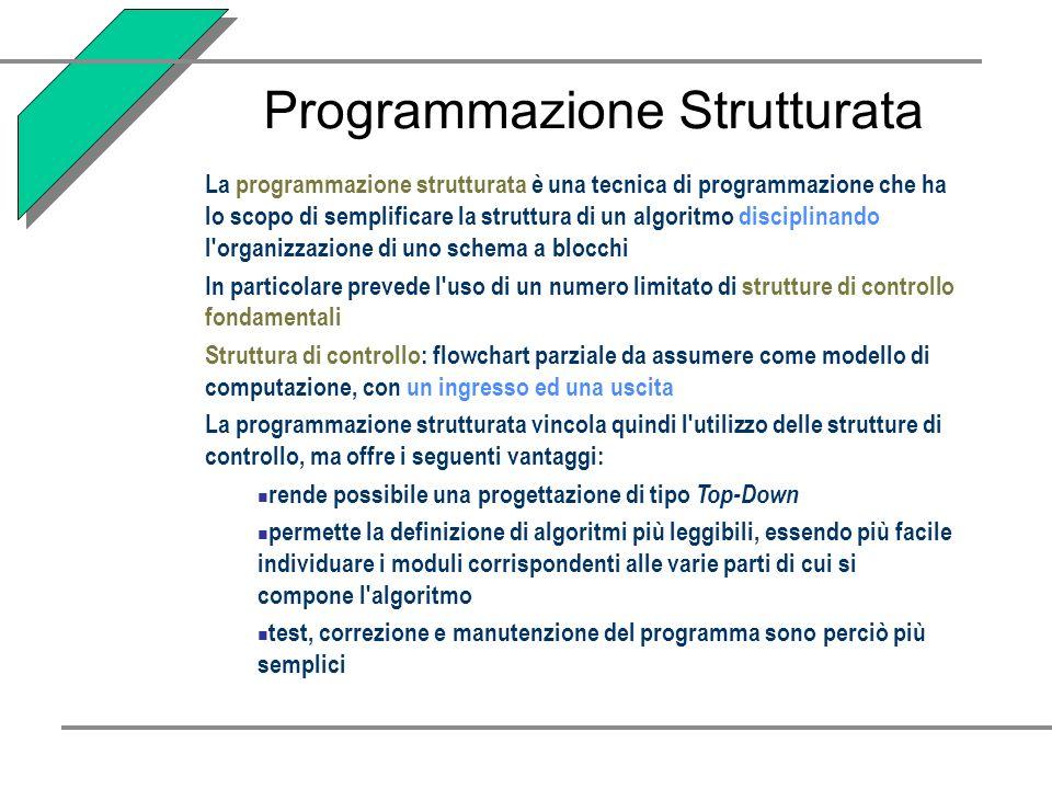 La programmazione strutturata è una tecnica di programmazione che ha lo scopo di semplificare la struttura di un algoritmo disciplinando l'organizzazi