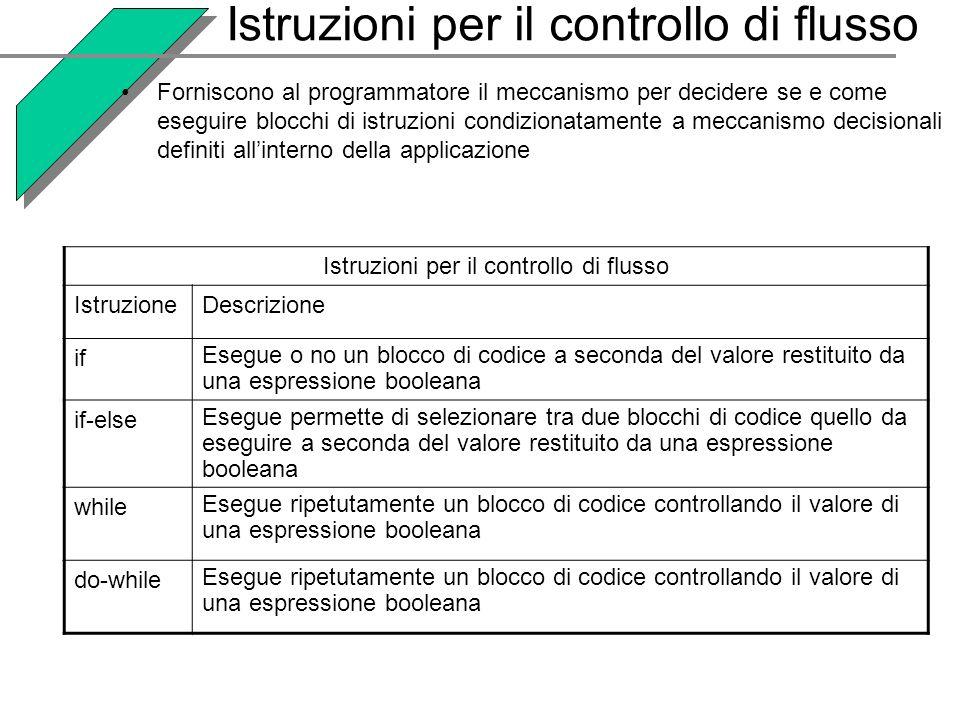 Istruzioni per il controllo di flusso Forniscono al programmatore il meccanismo per decidere se e come eseguire blocchi di istruzioni condizionatament