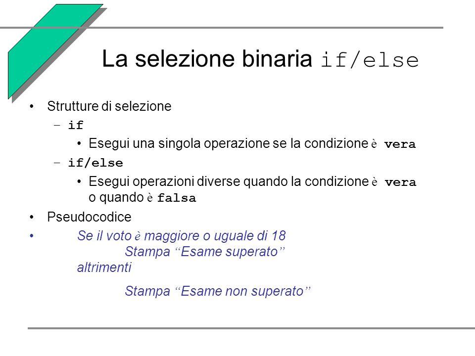 La selezione binaria if/else Strutture di selezione –if Esegui una singola operazione se la condizione è vera –if/else Esegui operazioni diverse quand