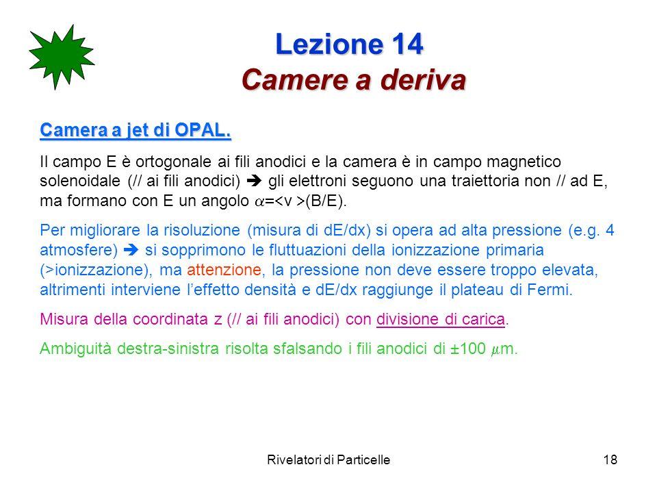 Rivelatori di Particelle18 Lezione 14 Camere a deriva Camera a jet di OPAL.