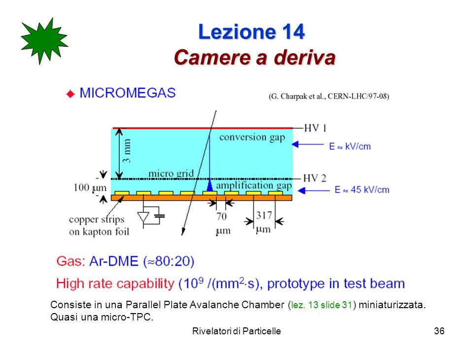 Rivelatori di Particelle36 Lezione 14 Camere a deriva Consiste in una Parallel Plate Avalanche Chamber ( lez.