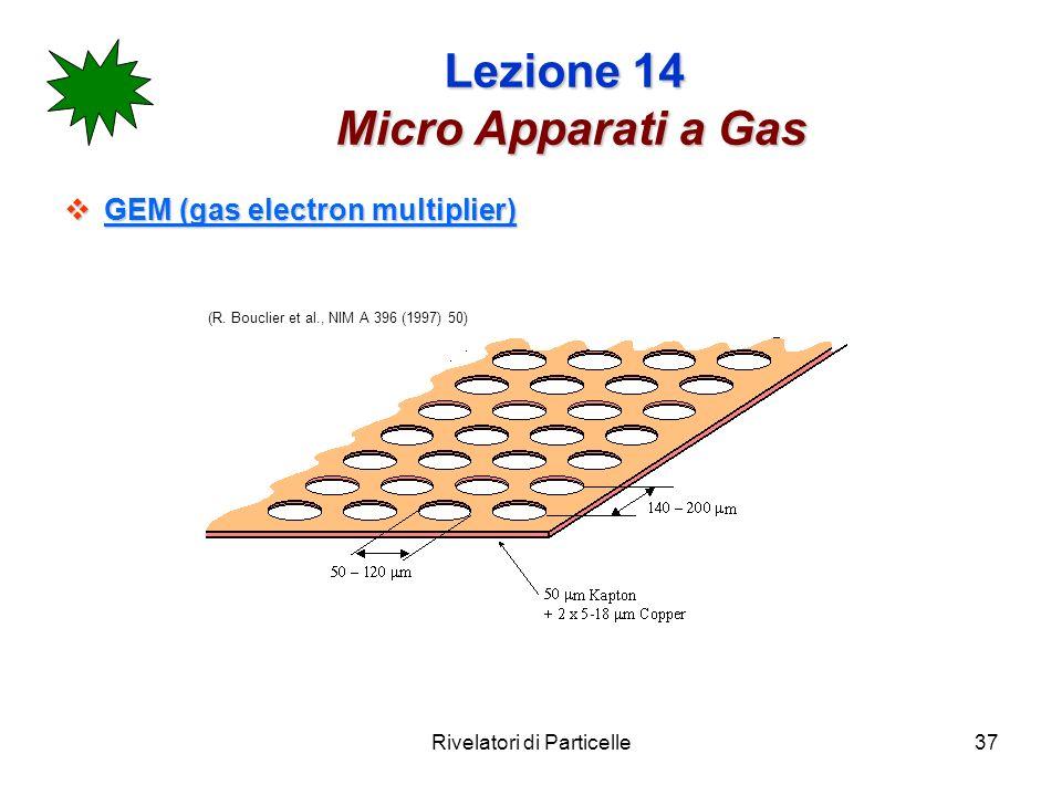 Rivelatori di Particelle37 Lezione 14 Micro Apparati a Gas GEM (gas electron multiplier) GEM (gas electron multiplier) (R.