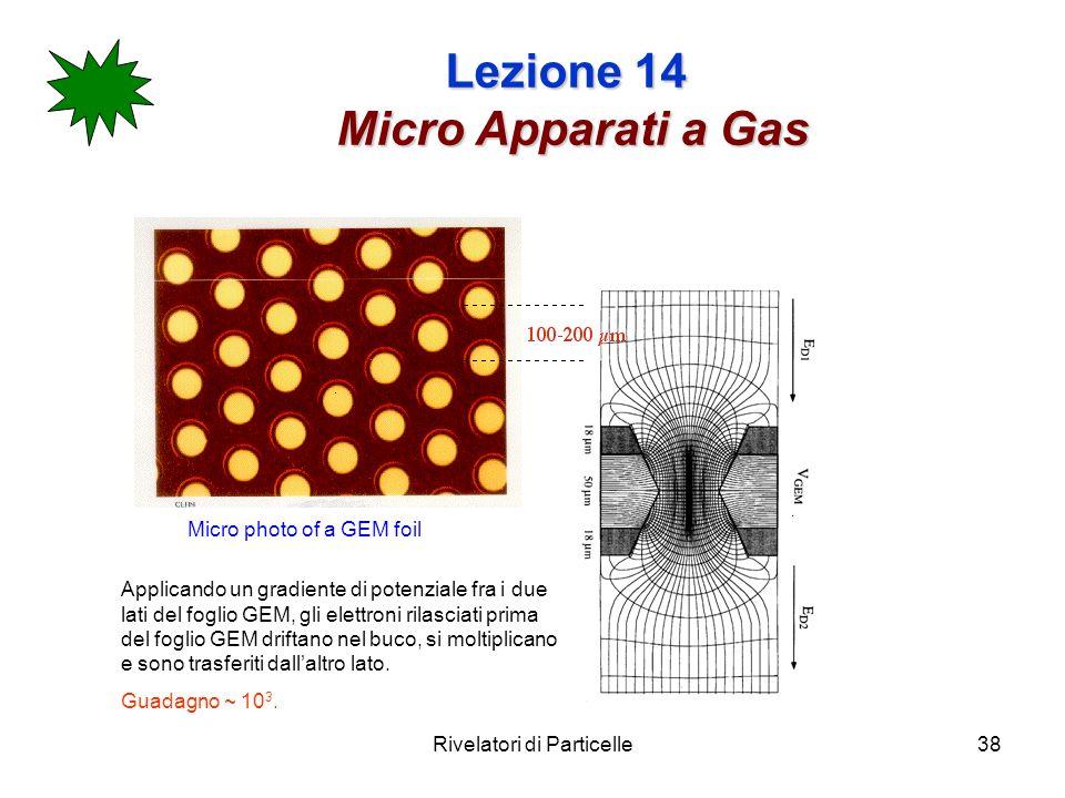 Rivelatori di Particelle38 Lezione 14 Micro Apparati a Gas Micro photo of a GEM foil Applicando un gradiente di potenziale fra i due lati del foglio GEM, gli elettroni rilasciati prima del foglio GEM driftano nel buco, si moltiplicano e sono trasferiti dallaltro lato.