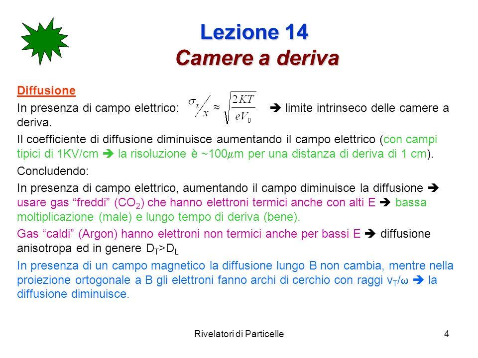 Rivelatori di Particelle4 Lezione 14 Camere a deriva Diffusione In presenza di campo elettrico: limite intrinseco delle camere a deriva.