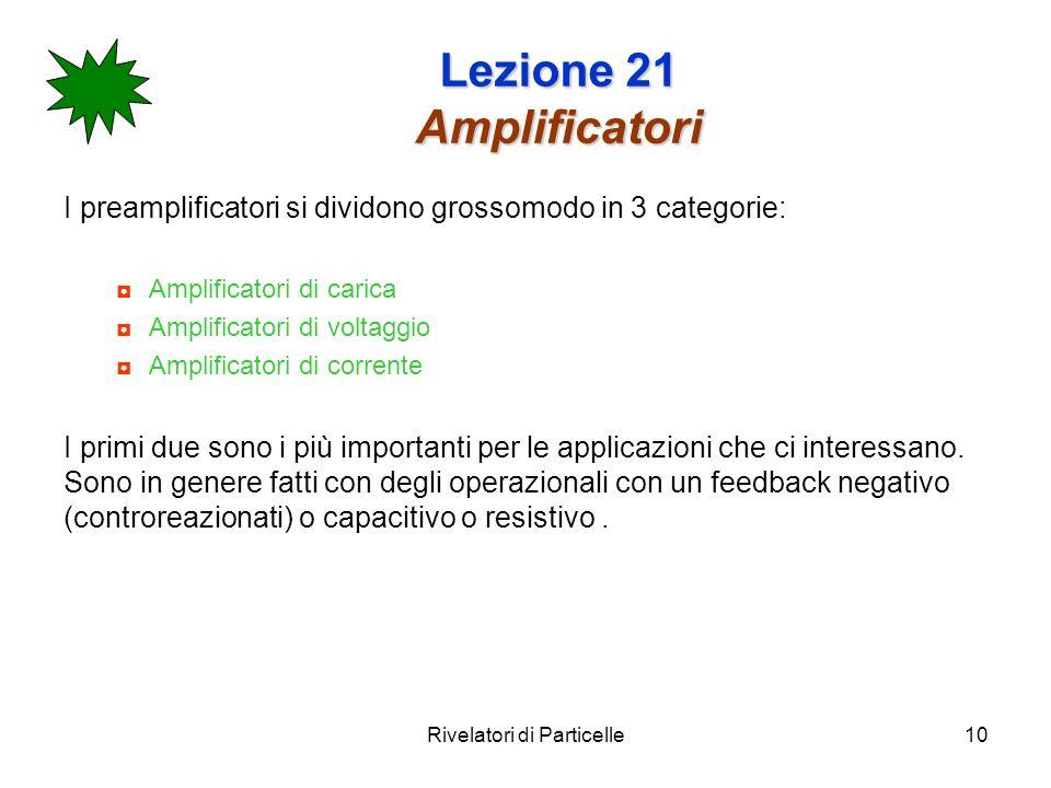 Rivelatori di Particelle10 Lezione 21 Amplificatori I preamplificatori si dividono grossomodo in 3 categorie: Amplificatori di carica Amplificatori di