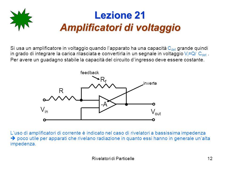 Rivelatori di Particelle12 Lezione 21 Amplificatori di voltaggio Si usa un amplificatore in voltaggio quando lapparato ha una capacità C det grande qu