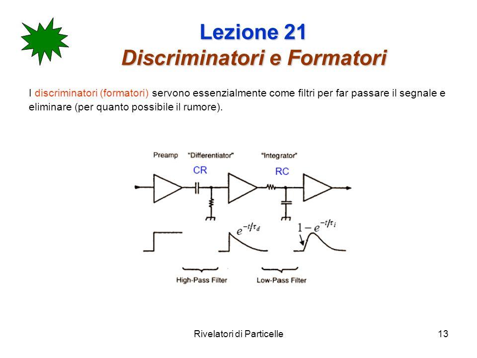 Rivelatori di Particelle13 Lezione 21 Discriminatori e Formatori I discriminatori (formatori) servono essenzialmente come filtri per far passare il se