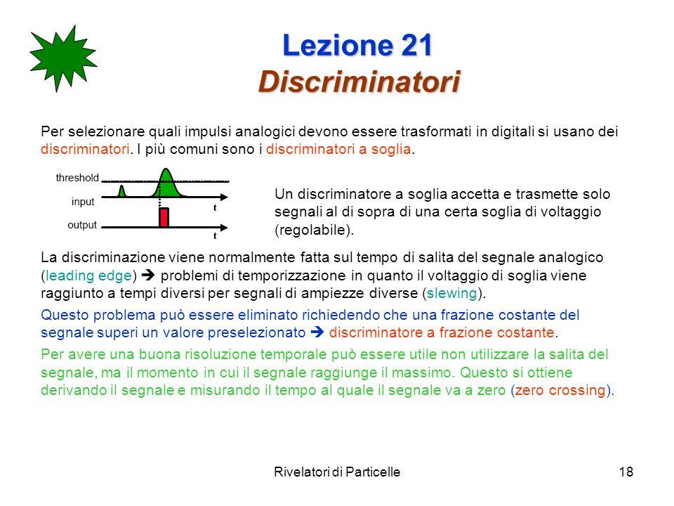 Rivelatori di Particelle18 Lezione 21 Discriminatori Per selezionare quali impulsi analogici devono essere trasformati in digitali si usano dei discri