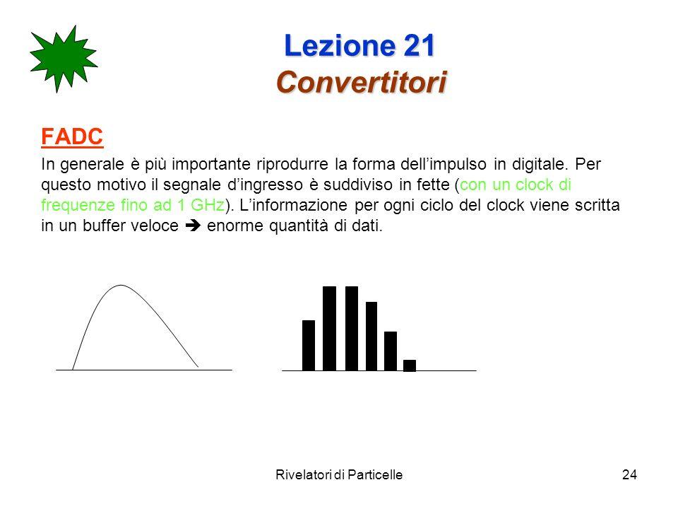 Rivelatori di Particelle24 Lezione 21 Convertitori FADC In generale è più importante riprodurre la forma dellimpulso in digitale. Per questo motivo il