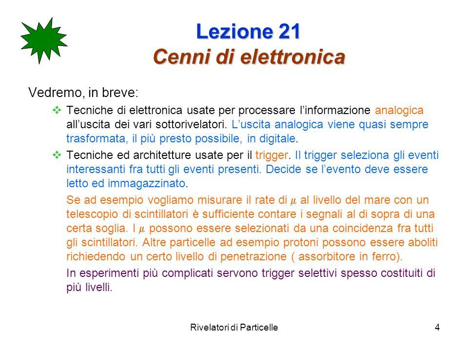 Rivelatori di Particelle4 Lezione 21 Cenni di elettronica Vedremo, in breve: Tecniche di elettronica usate per processare linformazione analogica allu