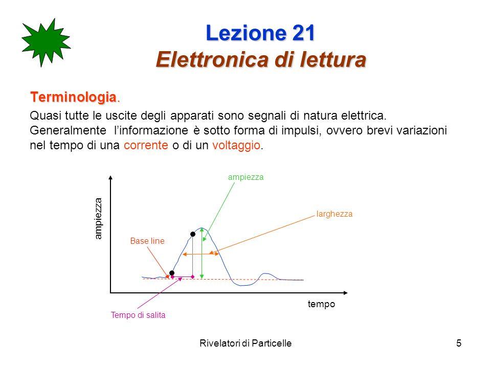 Rivelatori di Particelle5 Lezione 21 Elettronica di lettura Terminologia. Quasi tutte le uscite degli apparati sono segnali di natura elettrica. Gener