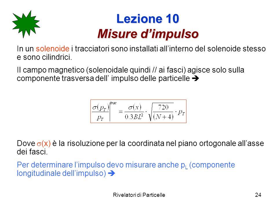 Rivelatori di Particelle24 Lezione 10 Misure dimpulso In un solenoide i tracciatori sono installati allinterno del solenoide stesso e sono cilindrici.