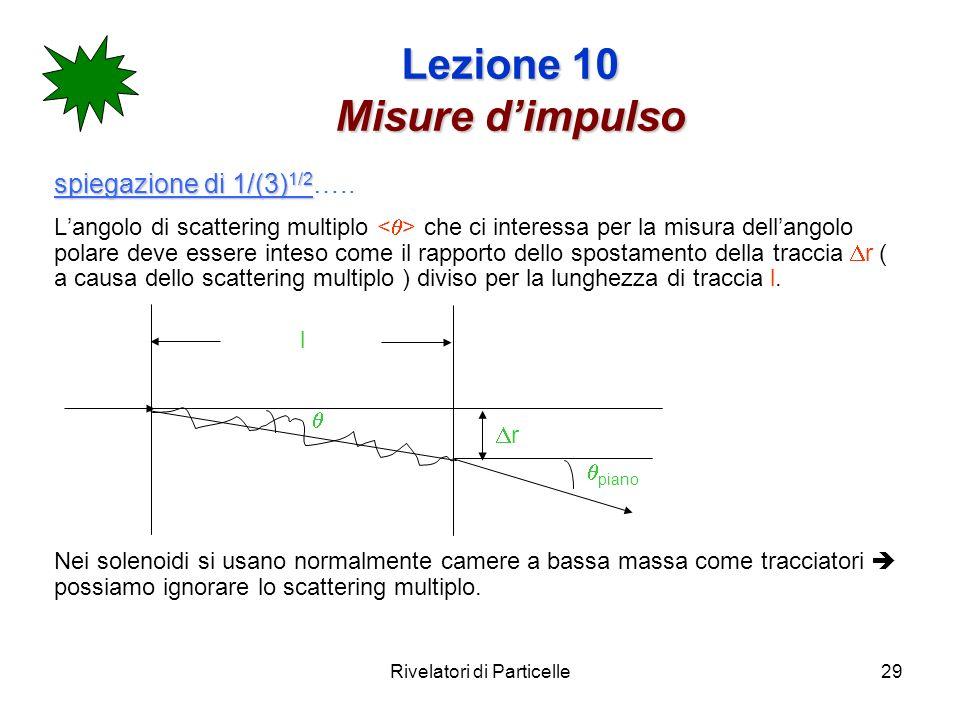 Rivelatori di Particelle29 Lezione 10 Misure dimpulso spiegazione di 1/(3) 1/2 spiegazione di 1/(3) 1/2 ….. Langolo di scattering multiplo che ci inte