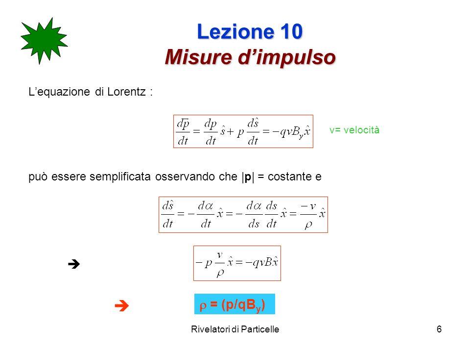 Rivelatori di Particelle6 Lezione 10 Misure dimpulso Lequazione di Lorentz : può essere semplificata osservando che  p  = costante e = (p/qB y ) v= ve