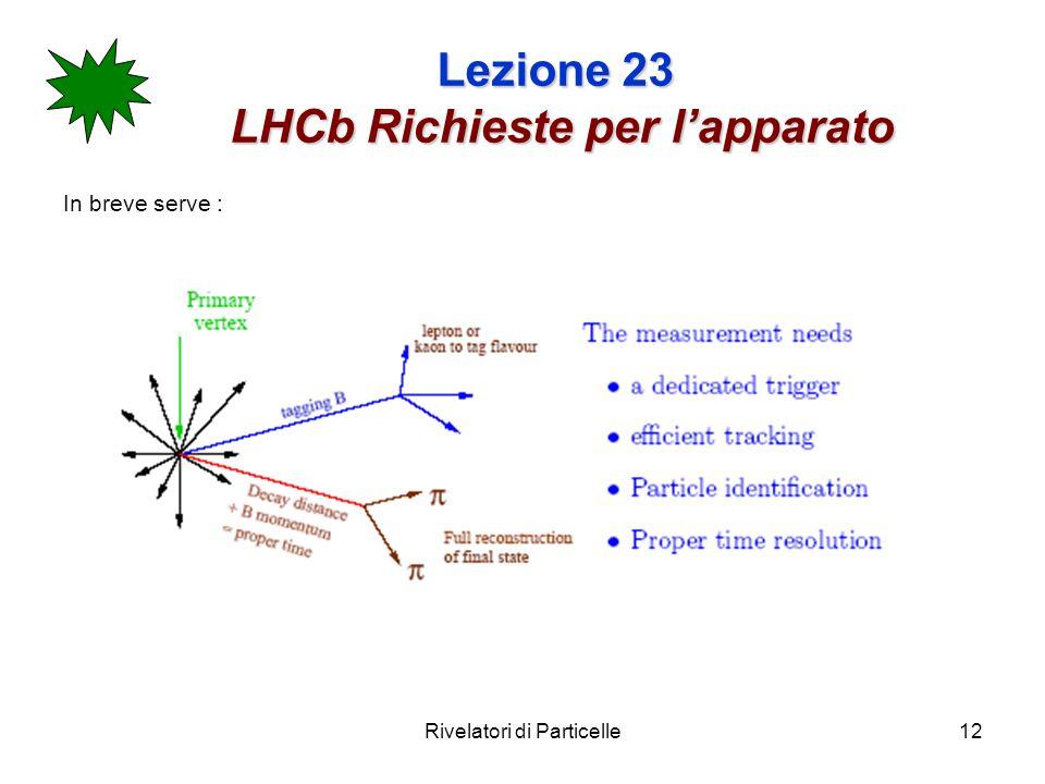 Rivelatori di Particelle12 Lezione 23 LHCb Richieste per lapparato In breve serve :