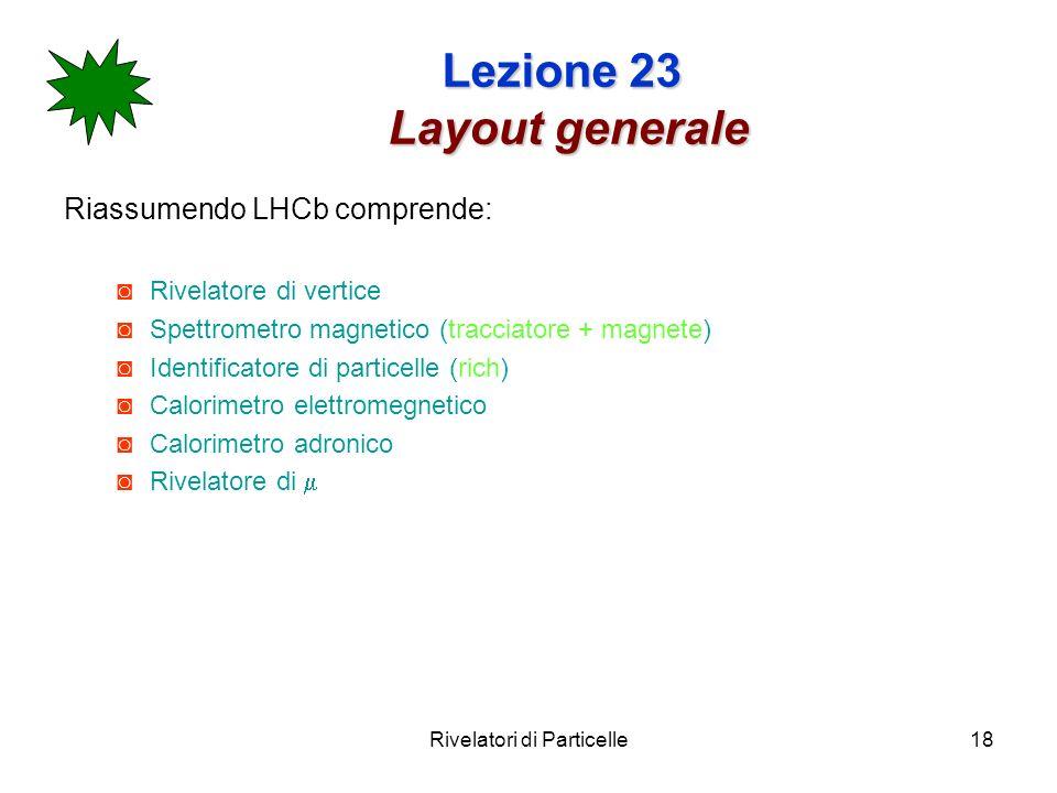 Rivelatori di Particelle18 Lezione 23 Layout generale Riassumendo LHCb comprende: Rivelatore di vertice Spettrometro magnetico (tracciatore + magnete)