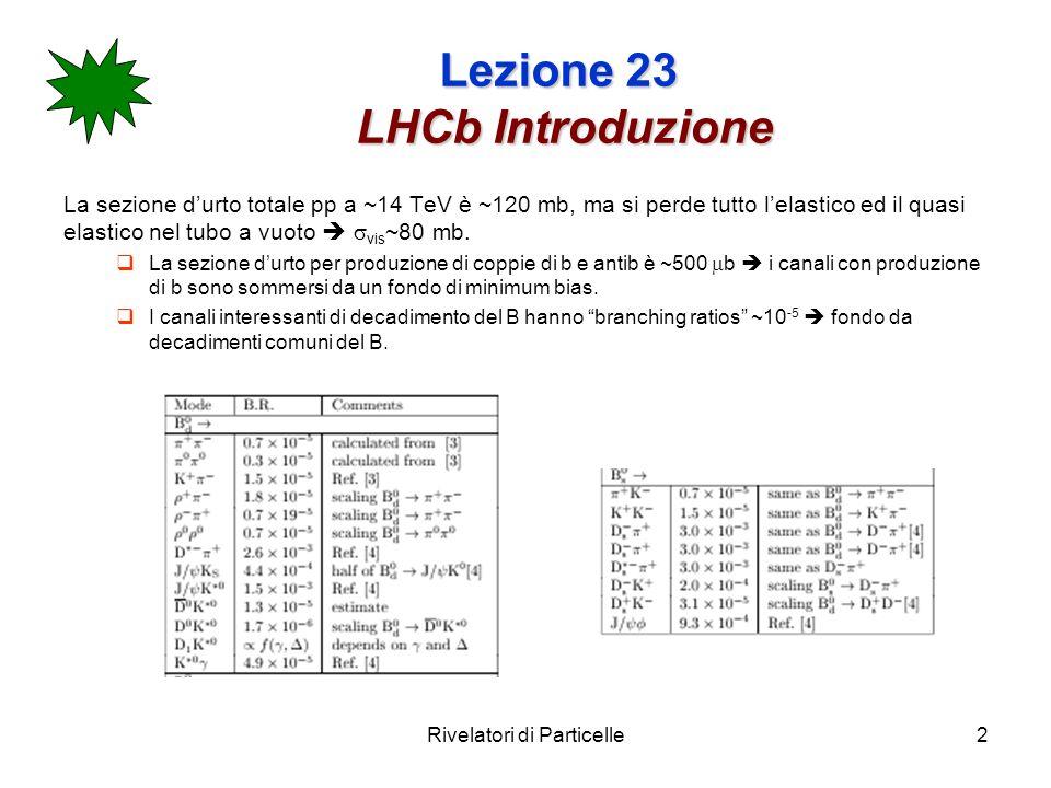 Rivelatori di Particelle3 Lezione 23 LHCb Introduzione La luminosità di progetto di LHC è L=10 34 cm -2 s -1 R= L=8x10 8 Hz I bunch sono separati da 25ns il numero medio di interazioni per crossing è =8x10 8 x25x10 -9 =20.