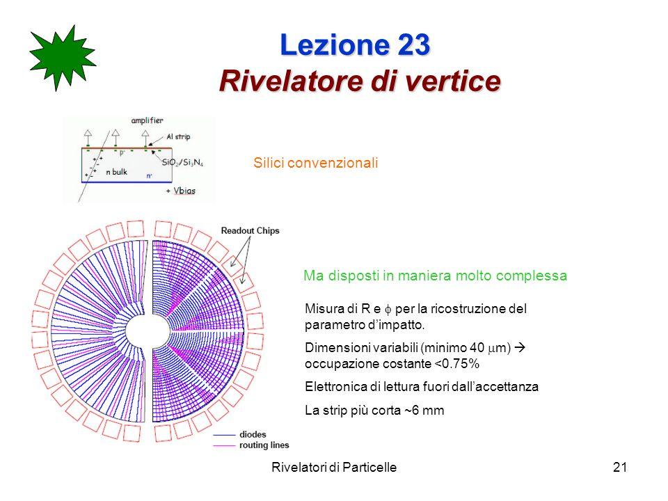 Rivelatori di Particelle21 Lezione 23 Rivelatore di vertice Silici convenzionali Ma disposti in maniera molto complessa Misura di R e per la ricostruz