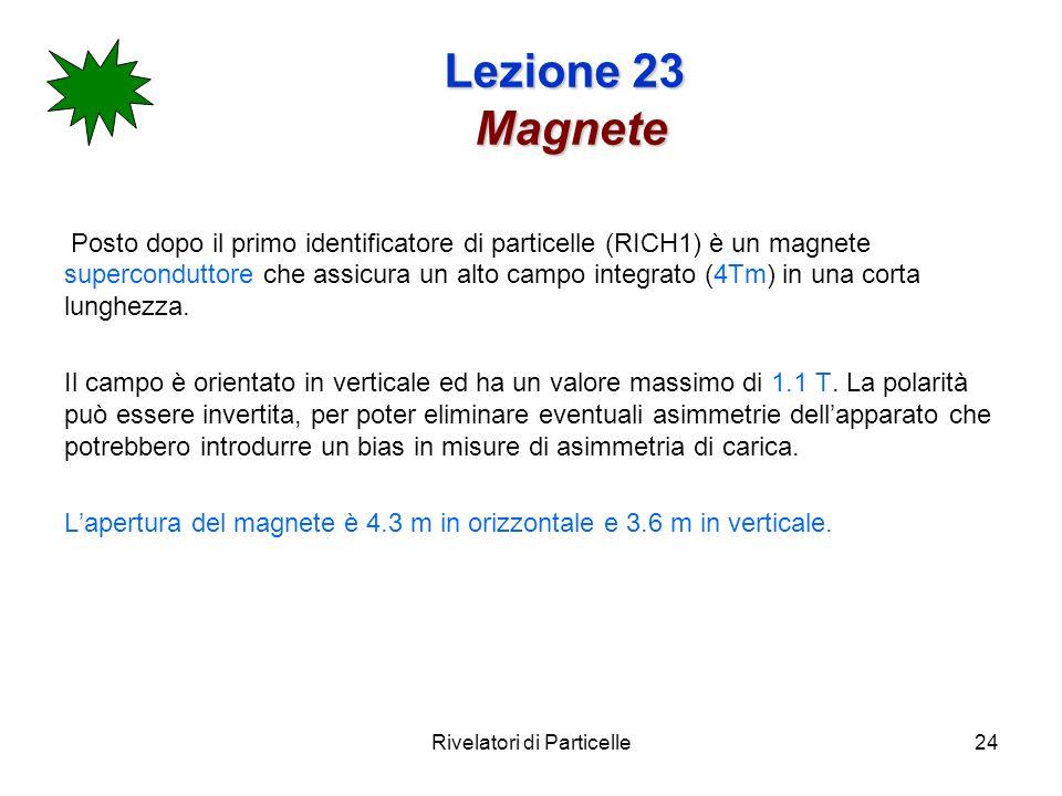 Rivelatori di Particelle24 Lezione 23 Magnete Posto dopo il primo identificatore di particelle (RICH1) è un magnete superconduttore che assicura un al