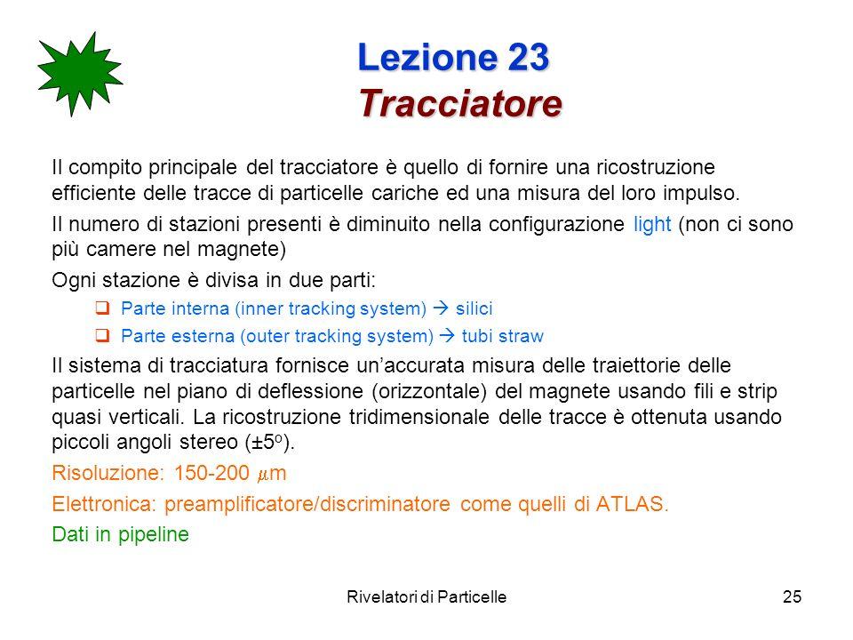 Rivelatori di Particelle25 Lezione 23 Tracciatore Il compito principale del tracciatore è quello di fornire una ricostruzione efficiente delle tracce