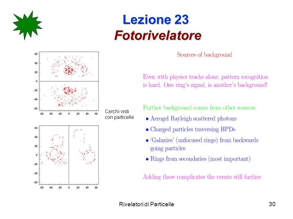 Rivelatori di Particelle30 Lezione 23 Fotorivelatore Cerchi visti con particelle