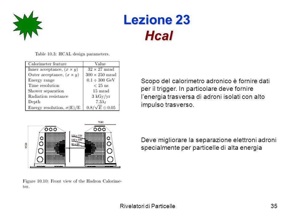 Rivelatori di Particelle35 Lezione 23 Hcal Scopo del calorimetro adronico è fornire dati per il trigger. In particolare deve fornire lenergia trasvers