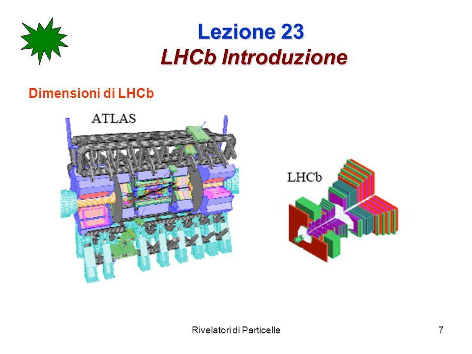 Rivelatori di Particelle18 Lezione 23 Layout generale Riassumendo LHCb comprende: Rivelatore di vertice Spettrometro magnetico (tracciatore + magnete) Identificatore di particelle (rich) Calorimetro elettromegnetico Calorimetro adronico Rivelatore di