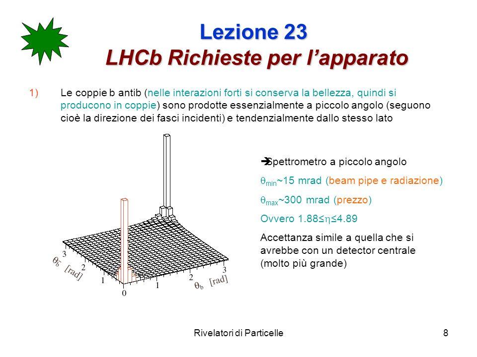 Rivelatori di Particelle8 Lezione 23 LHCb Richieste per lapparato 1)Le coppie b antib (nelle interazioni forti si conserva la bellezza, quindi si prod