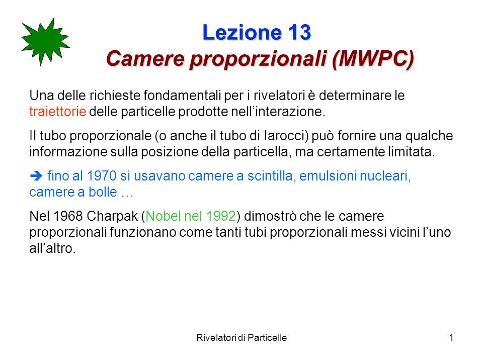 Rivelatori di Particelle1 Lezione 13 Camere proporzionali (MWPC) Una delle richieste fondamentali per i rivelatori è determinare le traiettorie delle
