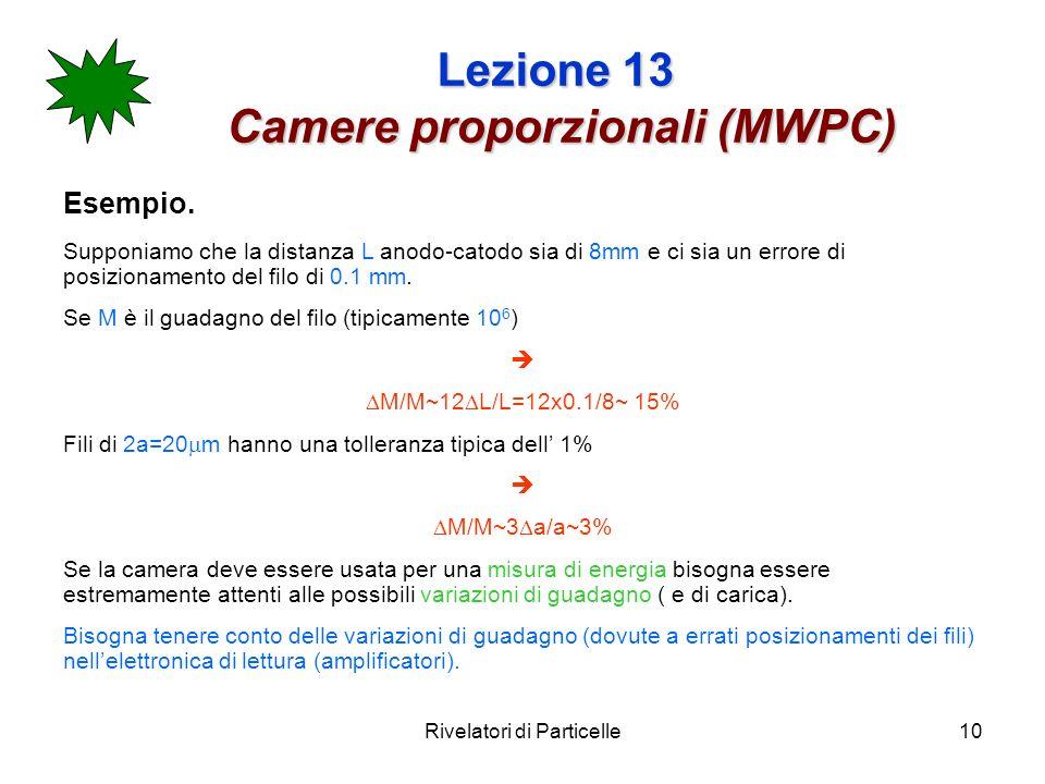 Rivelatori di Particelle10 Lezione 13 Camere proporzionali (MWPC) Esempio. Supponiamo che la distanza L anodo-catodo sia di 8mm e ci sia un errore di