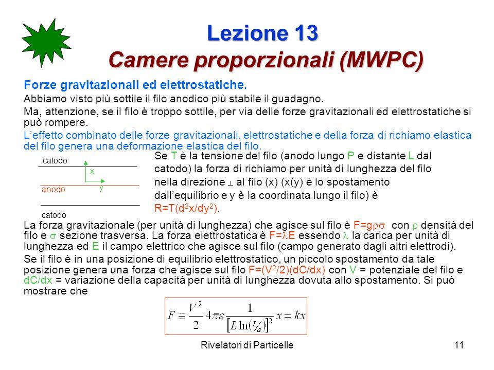 Rivelatori di Particelle11 Lezione 13 Camere proporzionali (MWPC) Forze gravitazionali ed elettrostatiche. Abbiamo visto più sottile il filo anodico p