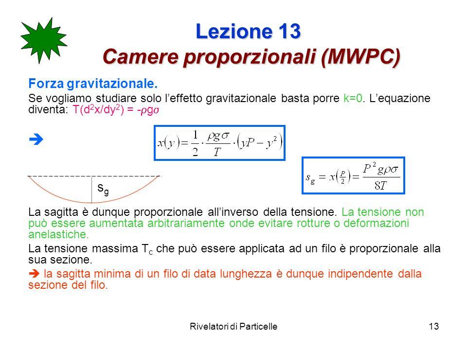 Rivelatori di Particelle13 Lezione 13 Camere proporzionali (MWPC) Forza gravitazionale. Se vogliamo studiare solo leffetto gravitazionale basta porre