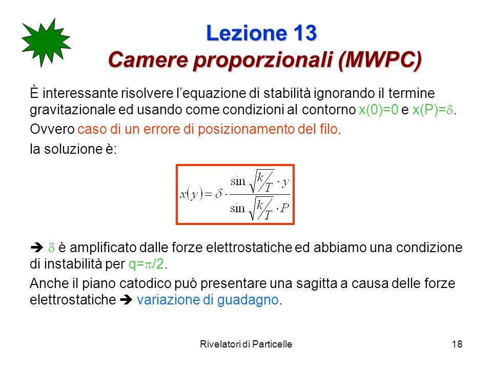 Rivelatori di Particelle18 Lezione 13 Camere proporzionali (MWPC) È interessante risolvere lequazione di stabilità ignorando il termine gravitazionale