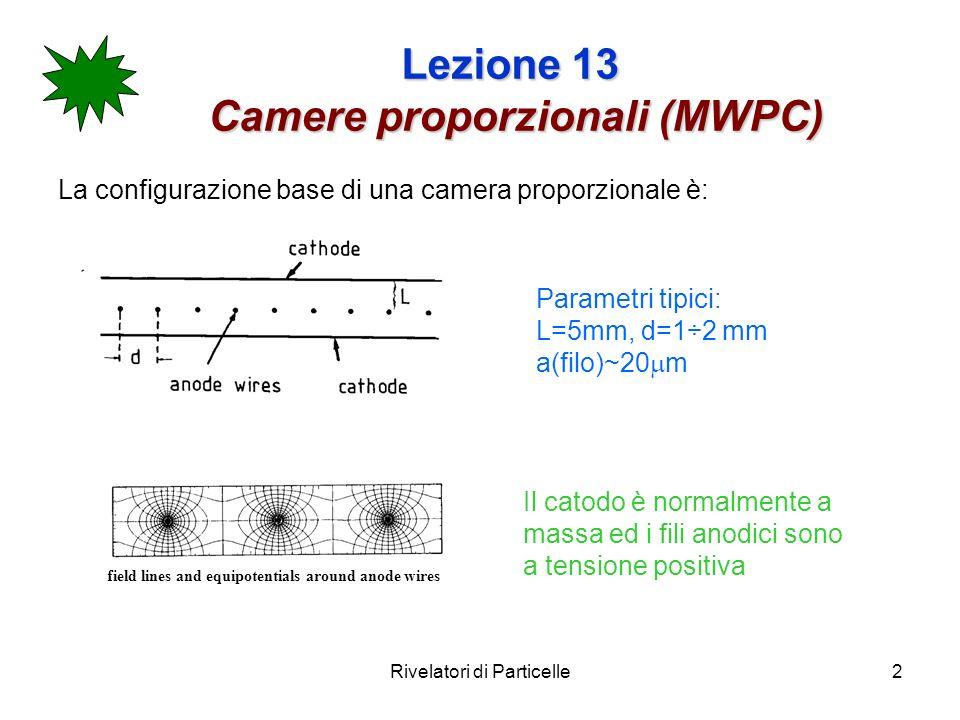 Rivelatori di Particelle3 Lezione 13 Camere proporzionali (MWPC) Il campo elettrico ed il potenziale sono abbastanza complicati, ma ricavabili dallelettrostatica.